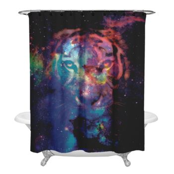 Starry Tiger Shower Curtain Thumbnail