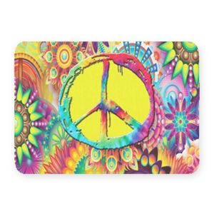 Groovy Peace Sign Coral Fleece Bath Mat Thumbnail