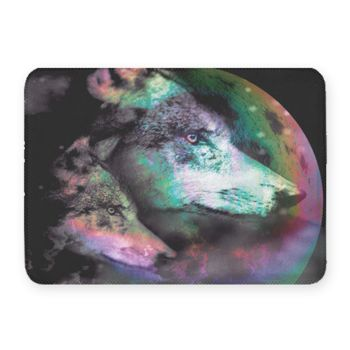 Wolf Night Coral Fleece Bath Mat Thumbnail