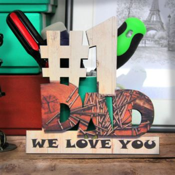 NEW!!! Personalized Wooden #1 Dad Painted Cutout with Your Text Thumbnail