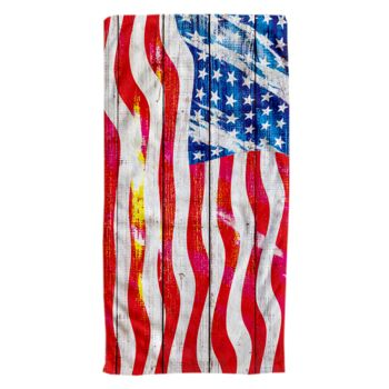 Grungy American Flag Oversized Beach Towel 30