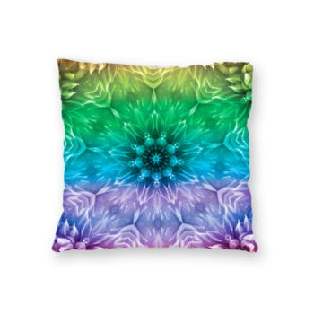 NEW!!! Mandala TyeDye Green Throw Pillow - Microfiber, Fleece, or Polypoplin Thumbnail