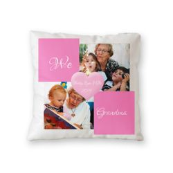 NEW!! Personalized 'We Love Grandma' Photo Collage Microfiber Throw Pillow - 16
