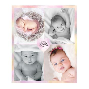 NEW!!! Personalized 'Baby Love' Photo Collage Plush Throw Blanket  Thumbnail