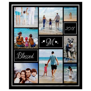 NEW!!! Personalized 'Blessed' Photo Collage Plush Throw Blanket  Thumbnail
