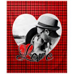 NEW!!! Personalized 'Single Heart' Photo Collage Small Soft Fleece Throw Blanket - 30