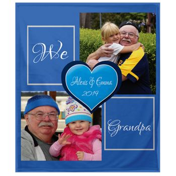 NEW!!! Personalized 'We Love Grandpa' Photo Collage Plush Throw Blanket  Thumbnail