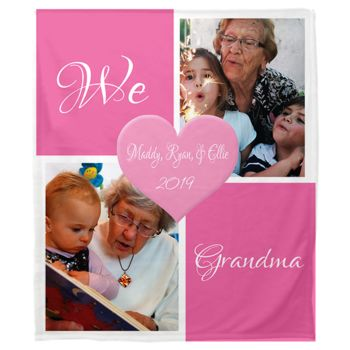 NEW!!! Personalized 'We Love Grandma' Photo Collage Plush Throw Blanket  Thumbnail