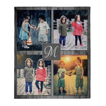 NEW!!! Personalized 'Inital' Photo Collage Throw Blanket  Thumbnail