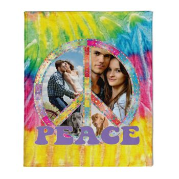 NEW!!! Personalized 'Peace' Photo Collage Throw Blanket  Thumbnail
