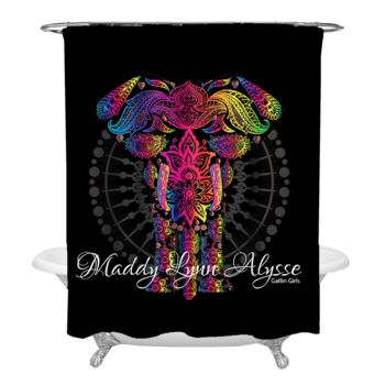 NEW!!! Elephant Mandala Personalized Photo Shower Curtain Thumbnail