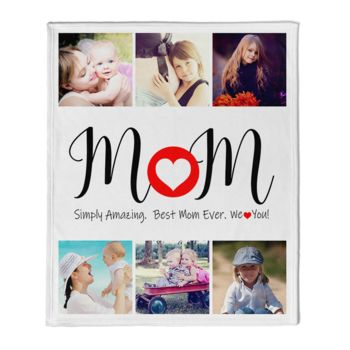 NEW!!! Personalized 'Amazing Mom' Photo Collage Mother's Day Throw Blanket  Thumbnail