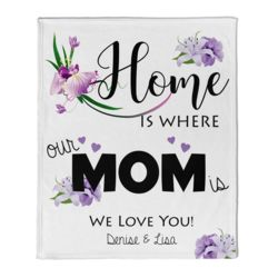 NEW!!! Personalized 'Home is Where Mom Is' Photo Collage Mother's Day Throw Blanket  Thumbnail