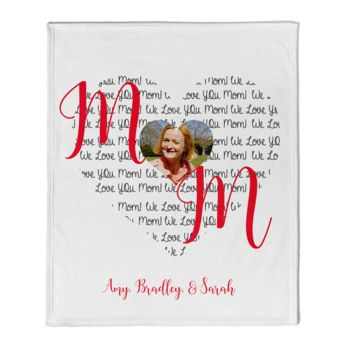 NEW!!! Personalized 'Love Mom'  Photo Collage Mother's Day Throw Blanket  Thumbnail