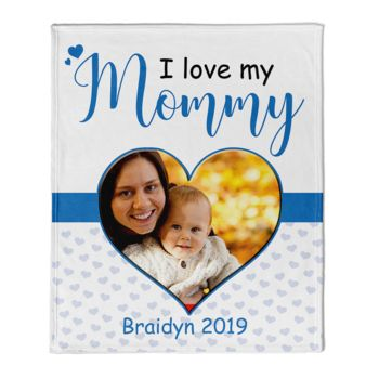 NEW!!! Personalized 'Mommy - Son'  Photo Collage Mother's Day Throw Blanket  Thumbnail