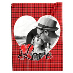 NEW!!! Personalized 'Single Heart' Photo Collage Large Soft Fleece Throw Blanket - 60