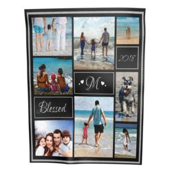 NEW!!! Personalized 'Blessed' Photo Collage Small Velveteen Fleece Throw Blanket - 30