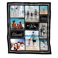 NEW!!! Personalized 'Blessed' Photo Collage Medium Velveteen Plush Throw Blanket - 50 x 60