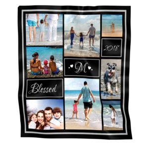 NEW!!! Personalized 'Blessed' Photo Collage Medium Velveteen Throw Blanket - 51 x 64