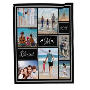 NEW!!! Personalized 'Blessed' Photo Collage Large Velveteen Throw Blanket - 60