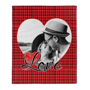 NEW!!! Personalized 'Single Heart' Photo Collage Plush Velveteen Large Throw Blanket - 60