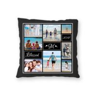 NEW!! Personalized Photo Collage Fleece 'Blessed' Throw Pillow - 16
