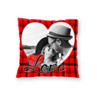 NEW!! Personalized Heart Fleece Photo Throw Pillow - 16