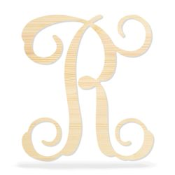 Vine Script Wood Monogram Single Letter - 16