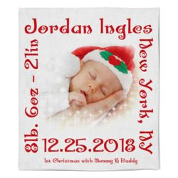 Personalized Baby's 1st Christmas Photo Collage Soft Medium Fleece Blanket - 50