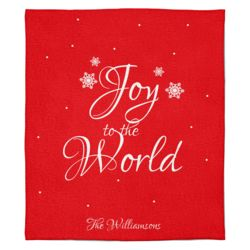 Personalized Christmas Photo Collage Joy to the World (Red) Soft Medium Fleece Blanket - 50