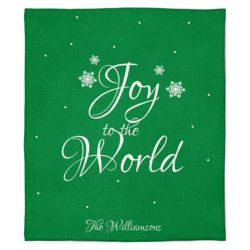 Personalized Christmas Photo Collage Joy to the World (Green) Soft Medium Fleece Blanket - 50