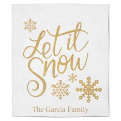 Personalized Christmas Photo Collage Let It Snow Soft Medium Fleece Blanket - 50