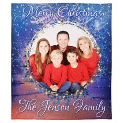 Personalized Merry Christmas Photo Collage Soft Medium Fleece Blanket - 50
