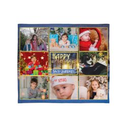 Personalized Photo Collage Happy Holiday's Christmas Soft Medium Fleece Blanket - 50