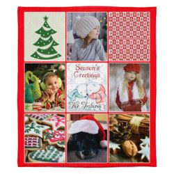 Personalized Photo Collage Season's Greetings Christmas Soft Medium Fleece Blanket - 50