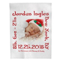 Personalized Baby's 1st Christmas Photo Collage Soft Medium Fleece Blanket - 30