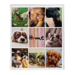 NEW!! Personalized Photo Collage 'Home'  Plush Velveteen Medium Throw Blanket - 50