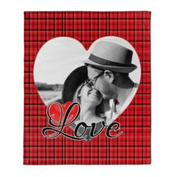 NEW!!! Personalized 'Single Heart' Photo Collage Medium Plush Velveteen Throw Blanket - 50