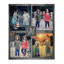 NEW!!! Personalized 'Inital' Photo Collage Medium Plush Velveteen Throw Blanket - 50