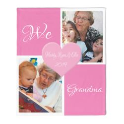 NEW!!! Personalized 'We Love Grandma' Photo Collage Medium Plush Velveteen Throw Blanket - 50