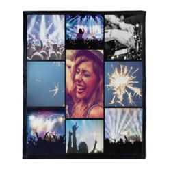 NEW!!! Personalized 'Nite 9' Photo Collage Medium Plush Velveteen Throw Blanket - 50
