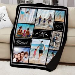 NEW!!! Personalized 'Blessed' Photo Collage Contrast Stitch Throw Blanket - 50