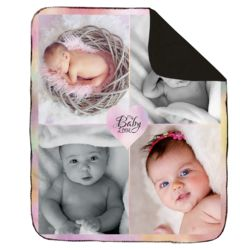 NEW!!! Personalized 'Baby Love' Photo Collage Contrast Stitch Throw Blanket - 50