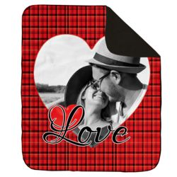 NEW!!! Personalized 'Single Heart' Photo Collage Contrast Stitch Throw Blanket - 50