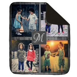 NEW!!! Personalized 'Inital' Photo Collage Contrast Stitch Throw Blanket - 50