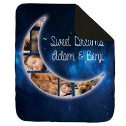 NEW!!! Personalized 'Sweet Dreams' Photo Collage Contrast Stitch Throw Blanket - 50