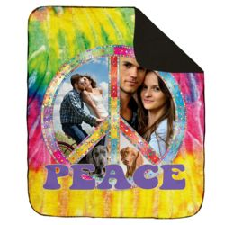 NEW!!! Personalized 'Peace' Photo Collage Contrast Stitch Throw Blanket - 50