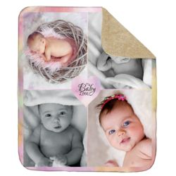 NEW!!! Personalized 'Baby Love' Photo Collage Ultra Plush Sherpa Throw Blanket - 50