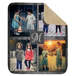 NEW!!! Personalized 'Inital' Photo Collage Ultra Plush Sherpa Throw Blanket - 50