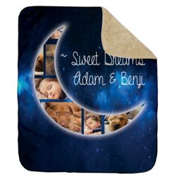 NEW!!! Personalized 'Sweet Dreams' Photo Collage Ultra Plush Sherpa Throw Blanket - 50